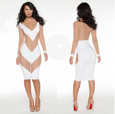 838550bfddd 2018 all white bodycon dress party gauze dress new sexy mesh lace long  sleeve see through dress sexy night club wear deep V neck