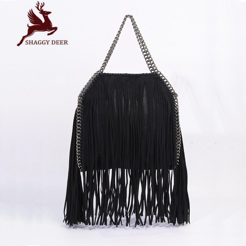 New List Shaggy Deer Fala Classical Tassel 25cm Stella Chain Bag Luxury Crossbody Fold-Over Suede Tassel Handbag mini gray shaggy deer pvc quilted chain bag with cover real picture
