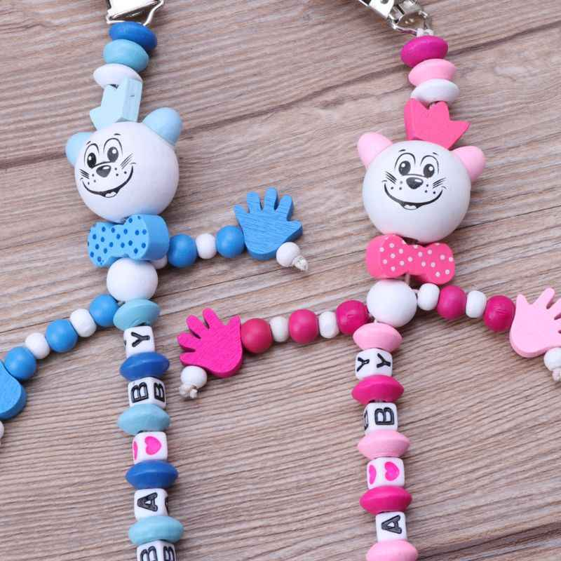Baby Pacifier Clip Chain Infant Boys Girls Letters Toys Teether Pacifier Chain Holder Baby Nipple Feeding