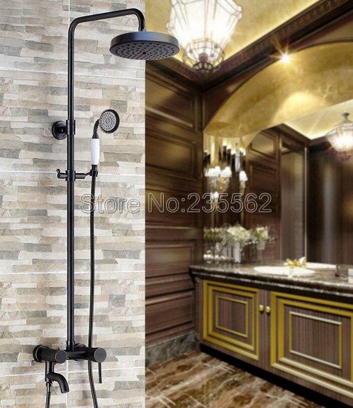 Black Oil Rubbed Wall Mounted Rain Shower Faucet Bathroom Tub Mixer Shower Taps Brass Finish + Handheld Shower Head Spray lrs368