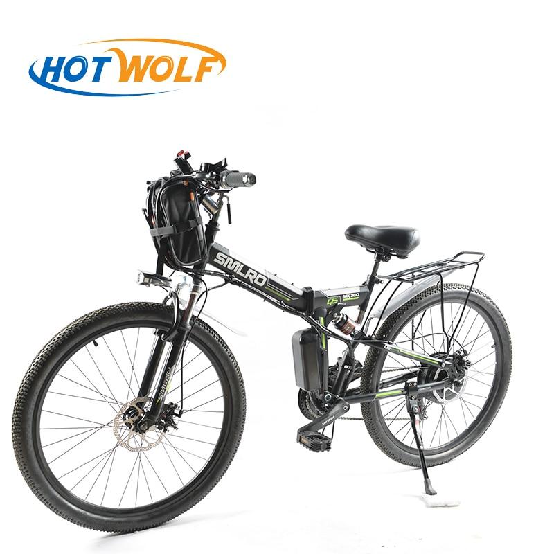 Vélo électrique Puissant Électrique Vélo avant sac 48 v 12AH 500 w eBike de montagne 24 Vitesse Vélo Électrique Russie livraison gratuite