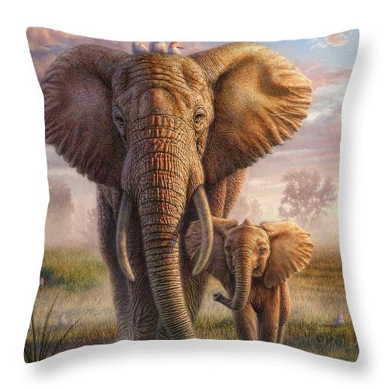Family Affection Series Throw Pillow Cover Polyester Animal Elephant Fox Love Cushion Cover Mother and Son Decorative Pillowcase