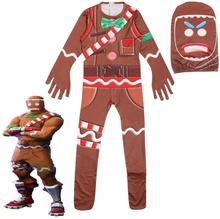 Gingerbread Man Cosplay Costume Party Halloween Christmas for Kids Brithday Gift Boys Fancy Jumpsuits Mask servi
