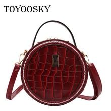 TOYOOSKY Brand Designer Women Mini Round Bags Crocodile Pattern Circular Messenger Bag Lady Top-handle Circle Handbag Purses