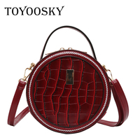 aa11cd39a TOYOOSKY Brand Designer Women Mini Round Bags Crocodile Pattern Circular  Messenger Bag Lady Top Handle Circle
