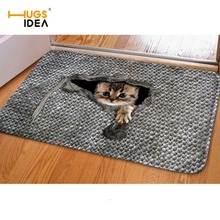 HUGSIDEA 3D Cute Pet Cat Entrance Doormat Non-Slip Living Room Bathroom Kitchen Carpet 40*60cm Rugs For Kids Bedroom Carpets Mat