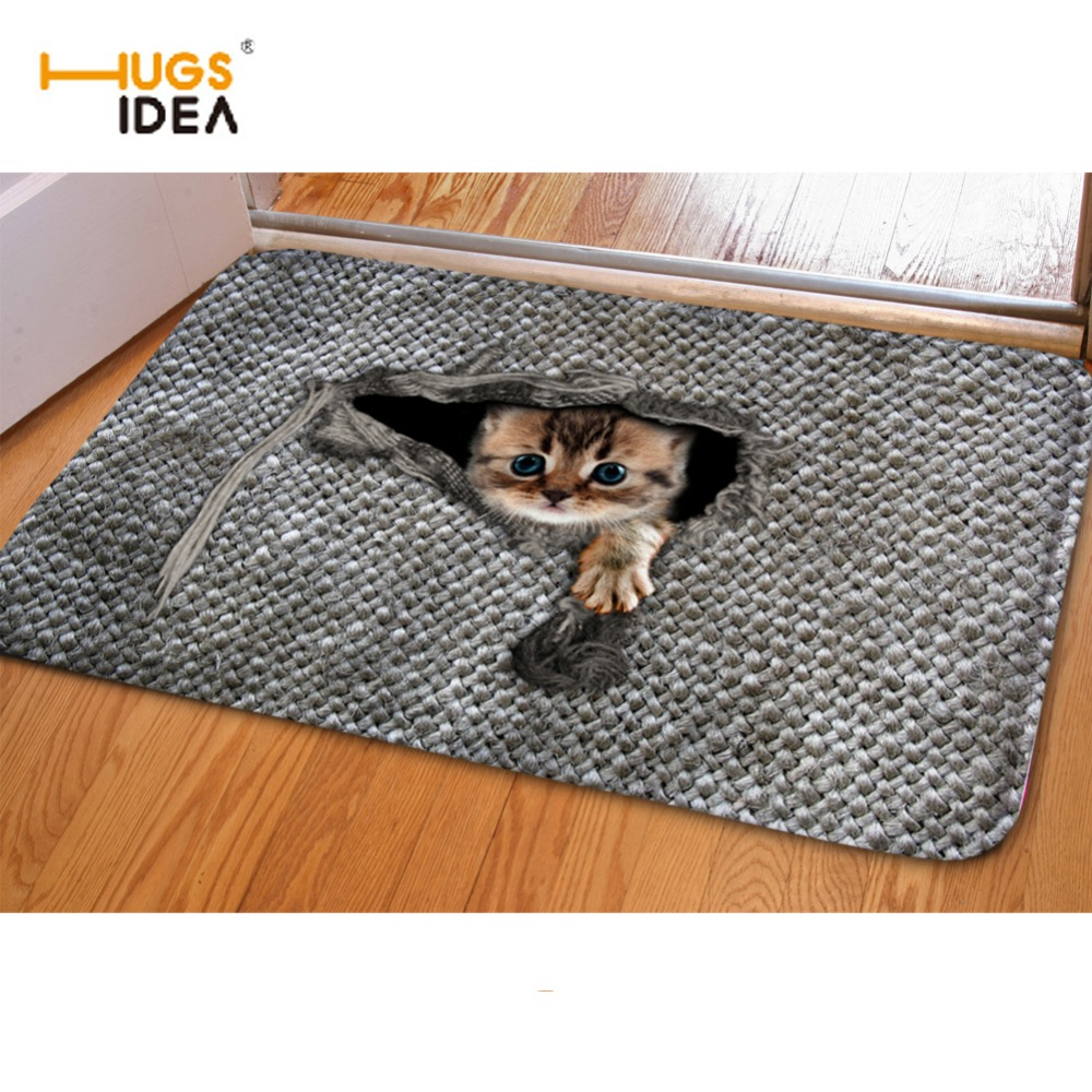 HUGSIDEA 3D Cute Pet Cat Entrance Doormat Non-Slip Mouse print Bathroom Kitchen Carpet 40*60cm Rugs For Kids Bedroom Carpets Mat