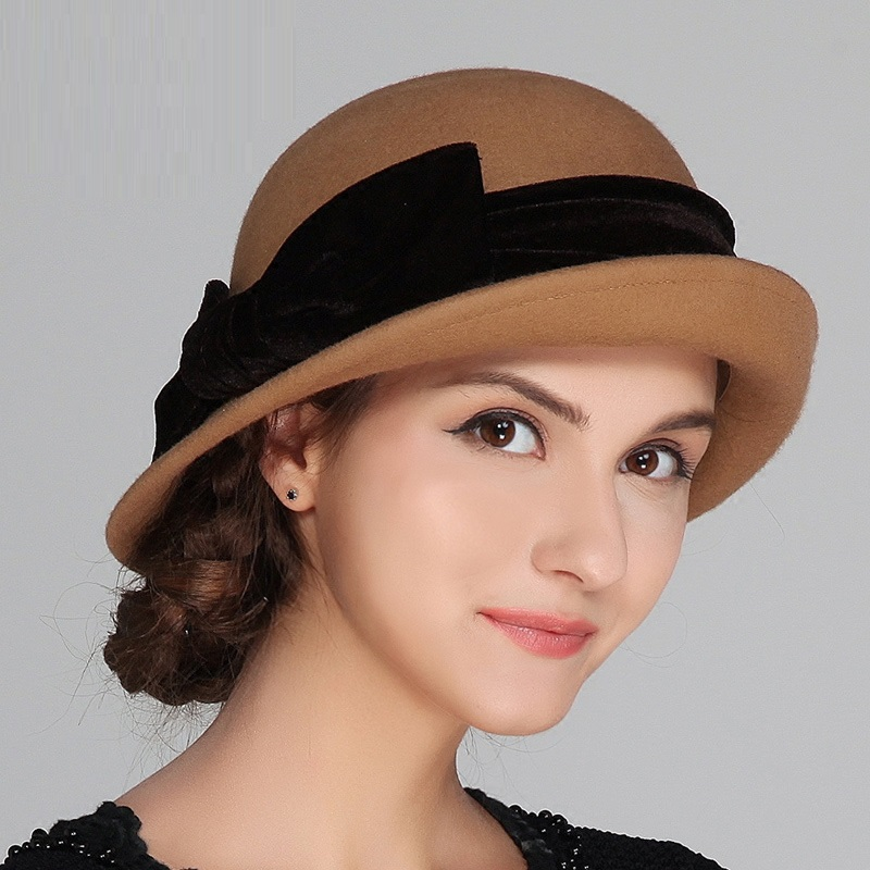 426ee05956425 ... Hat style  wide brim  Eaves shape  Curling  Main material  cloth  The  crowd  female  Style details  Bow