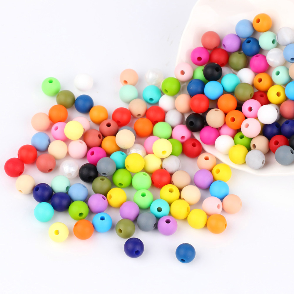 TYRY.HU 10pcs 9mm Silicone Beads Baby Teething Teether Mon Necklace Pacifier Clips Holder Accessories BPA Free Silicone