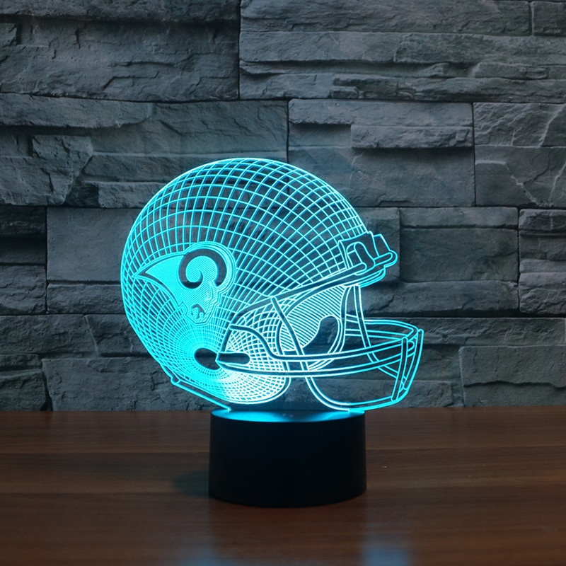 3D Football Helmet Table Lamp LED Creative Home Desk Decor 7 Colors Change Lampara Nightlight Rugby Hat Cap Light Fixture Gifts