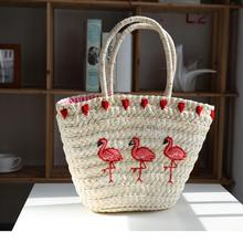 Red Flamingo Design Embroidery Straw Braided Bag Natural Fashion Flamingo Holiday Woven Beach Sling Tote Bag For Women