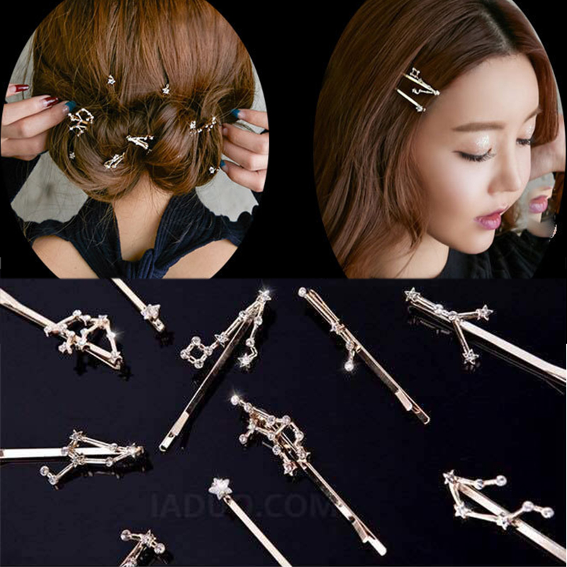 New Twelve Constellation Crystal Alloy Women Girls Barrettes Hair Clips Cute Simple Hairpins Headwear Fashion Hair Accessories