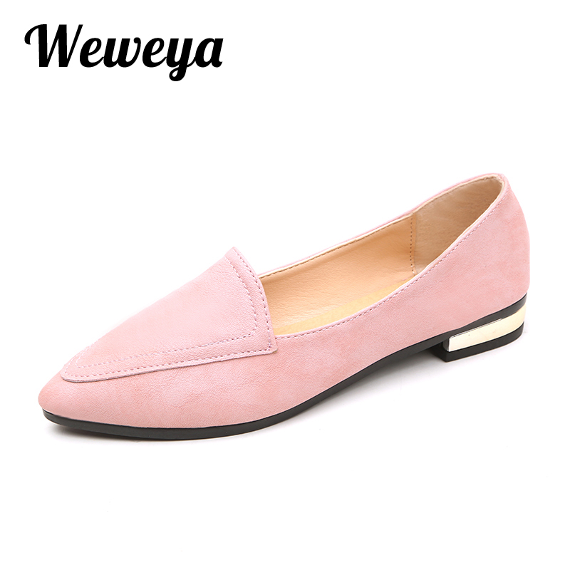 Weweya 2017 Fashion Pointed Toe Flat Shoes Women New Ballet Flats Womens Summer Female Loafers Shoes Woman Chaussure Femme new 2017 spring summer women shoes pointed toe high quality brand fashion womens flats ladies plus size 41 sweet flock t179