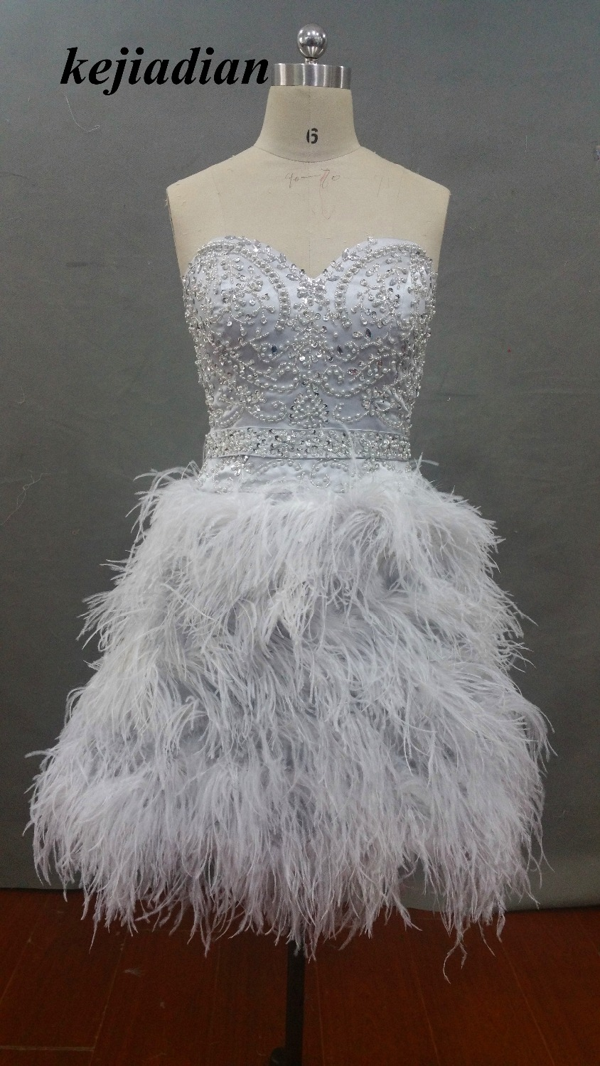 Short Silver Cocktail Dresses Feathers Sweetheart Neck Corset Graduation Homecoming Dress Beading Bodice Girls Gowns Novel Design; In