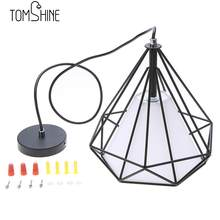 Tomshine 110-240V 0-60W Industrial Vintage Cage Pendant Light Iron Art Diamond Pyramid Wrought Lamp for Restaurant Bedroom Lamp(China)