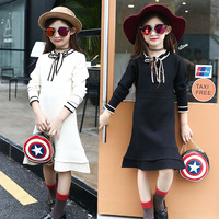 Retail Girls Knitted Dress With Long Sleeve 2016 New Kid Girl Long Sweater Dress For Winter