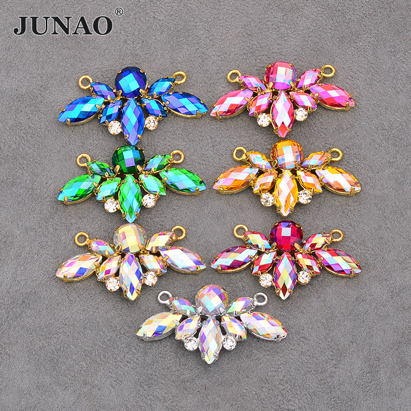 Detail Feedback Questions about JUNAO 15 45mm Sewing Red AB Butterfly  Rhinestones Connector Glass Appliques Flatback Gold Claw Crystal Stones for  Dress ... be42629f43de