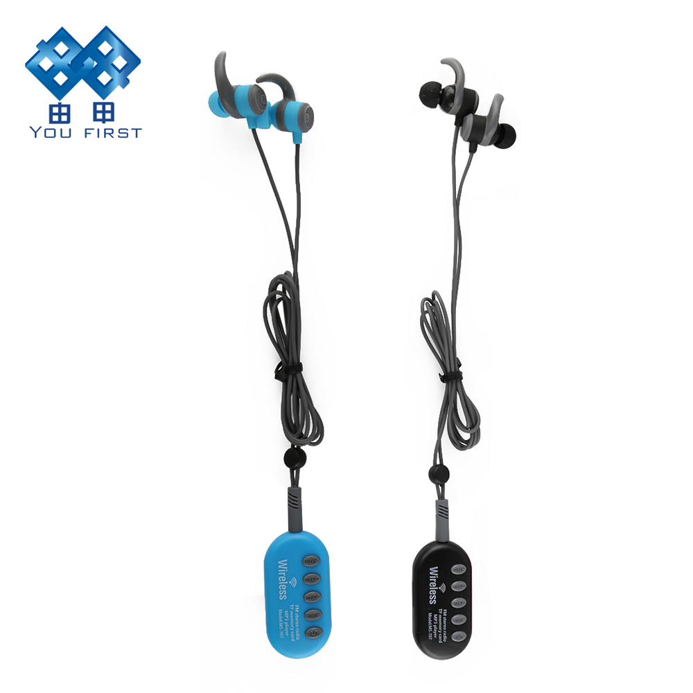 YOU FIRST FM Radio Earphone Wireless Bluetooth Player TF Card With 3.5mm Earphone Sport Hands Free With Microphone For Phone kobwa portable wireless bluetooth headphone foldable music earphone with microphone fm radio tf card stereo headset earphons