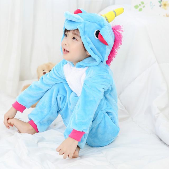Brand Boy Girl Pajamas set Zipper Children Kids Unicorn Panda Winter baby Pajamas Flannel Cartoon Cosplay Cute Onesie Sleepwear