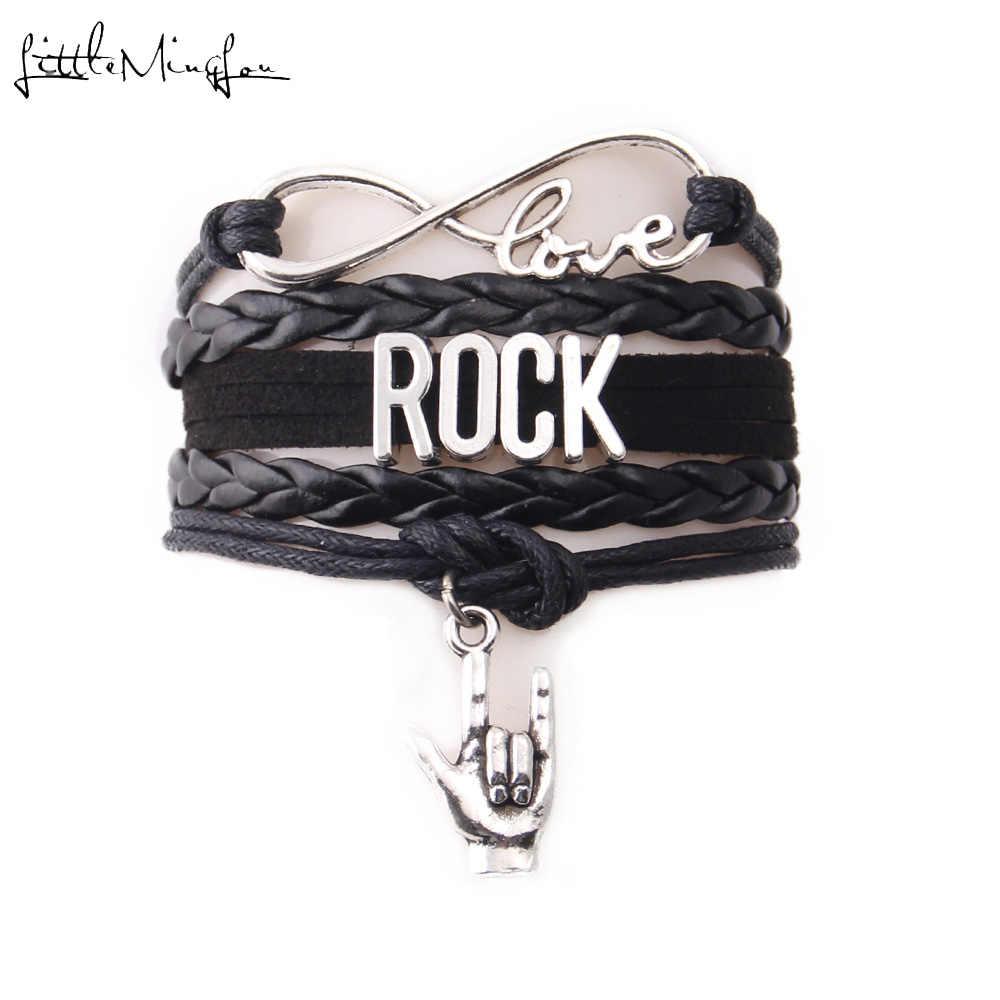 Amor infinito rock pulseira pilhas letras de prata id mão charme música couro masculino wrap pulseiras & pulseiras para mulher jóias