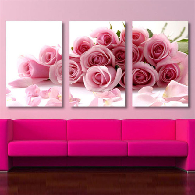 3 Pieces Pink Rose Home Decorative Canvas Printings Poster Wall ...