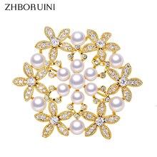 ZHBORUINI Fine Jewelry Natural Freshwater Pearl Brooch Many Pearls Flower Pins Women Geometry Decoration
