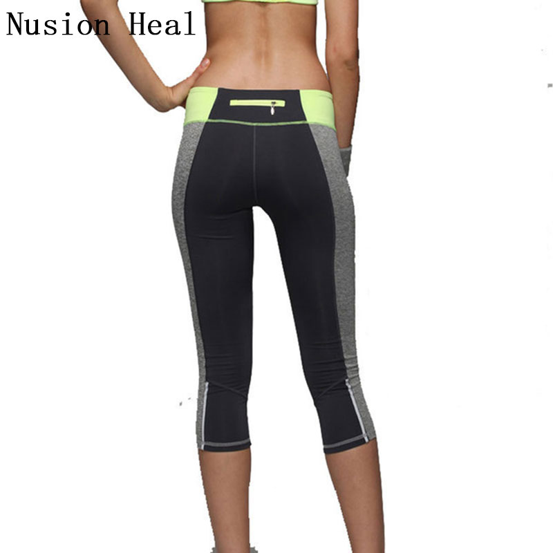 NUSION HEAL Yoga Pants Women Yoga Compression Pant Mesh Leggings Pants Elastic Tights Sexy Yoga Capri with Pocket for Workout