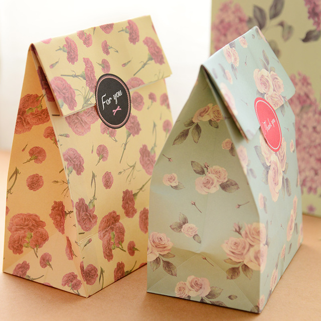 3Pcs Lot Colorful Gift Bags Wedding Decoration Bachelorette Party Supplies Portable Folding Flora Envelope Paper