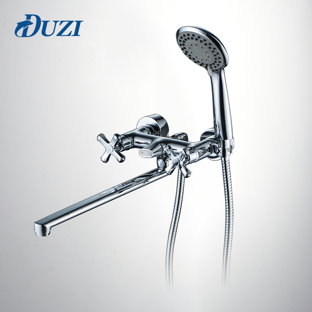 DUZI Solid Brass Long Spout Wall Mounted Bathroom Shower Faucet Bath Faucet Mixer Tap With Hand Shower Head Shower Faucets D6114 chrome polished rainfall solid brass shower bath thermostatic shower faucet set mixer tap with double hand sprayer wall mounted