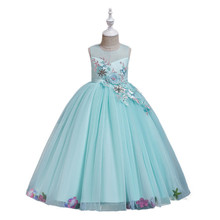 4-9 Year Girls Wedding Dresses Baby Tulle Lace Dress Pageant Evening Event Party Prom Gown Romantic Flower Princess