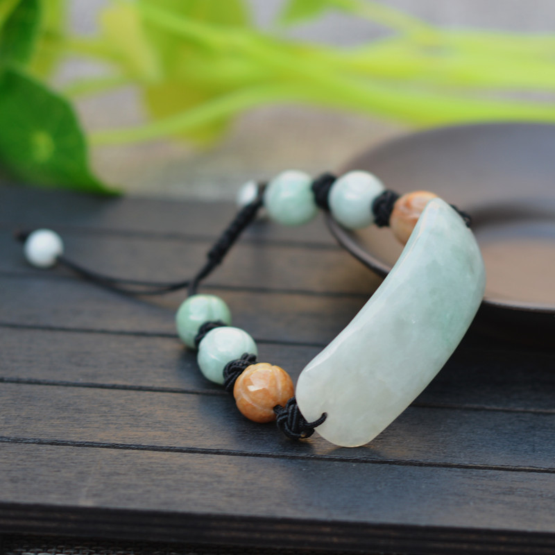 Bracelet en jadéite naturelle de Style nouveau Bracelet en forme de lune fabriqué à la main 10mm perles de Lotus bracelets femmes bijoux en pierre Jades