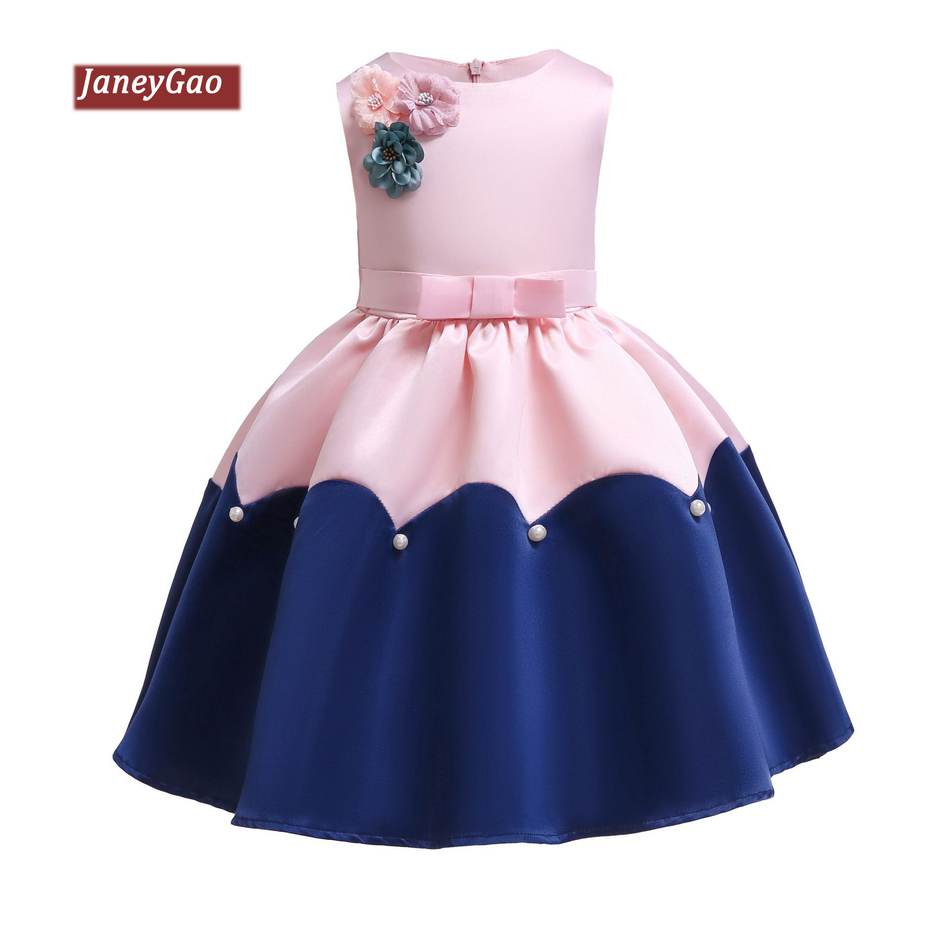 JaneyGao   Flower     Girl     Dresses   For Wedding Party Kids Formal Gown 2019 Summer With Appliques Pink And Blue Little   Girl     Dress