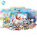 60 pcs Dos Desenhos Animados jigsaw Puzzle brinquedos para crianças Bebê precoce Educacional De Madeira Quebra-cabeças de madeira caixa de ferro jogo de brinquedo para crianças