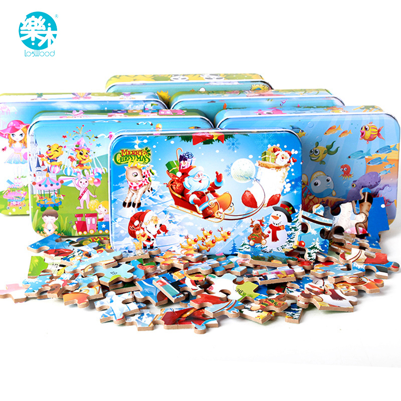 60pcs Cartoon Wooden jigsaw Puzzle toys for children Baby early Educational wooden Puzzles toy iron box game for kids children s early childhood educational toys the bear change clothes play toys creative wooden jigsaw puzzle girls toys