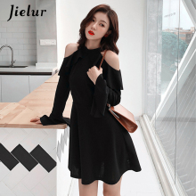 Jielur Hollow Sexy Off Shoulder Dress	Black S-XL Korean New Autumn Long Sleeve Dress for Women Casual Street Vestidos Mujer 2019