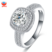 GALAXY High Grade Micro Pave CZ Ring White Gold Plated AAA Cubic Zirconia Simulated Diamond Wedding