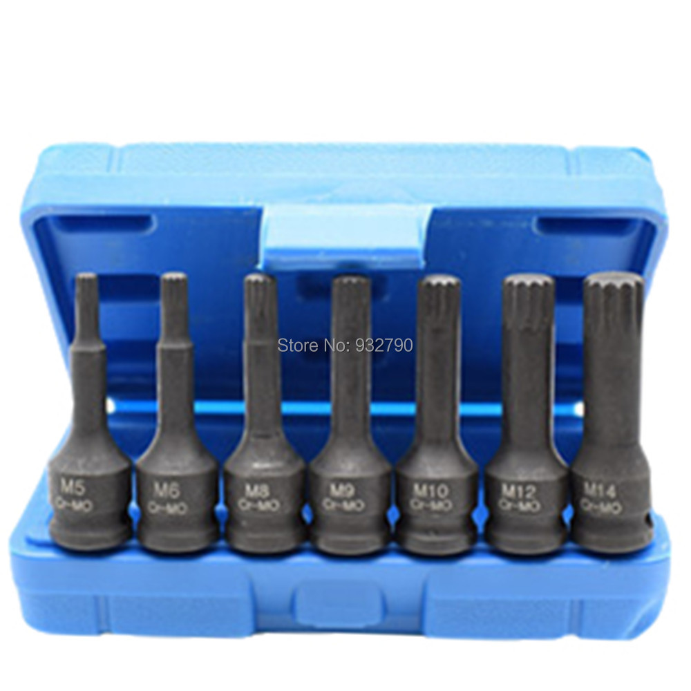 7pc 3/8 Inch Impact Spline Socket Bit Set M5-M14 Pneumatic Electric Wrench Socket Cr-Mo 60mm Length Size M5 M6 M7 M8 M10 M12 M14