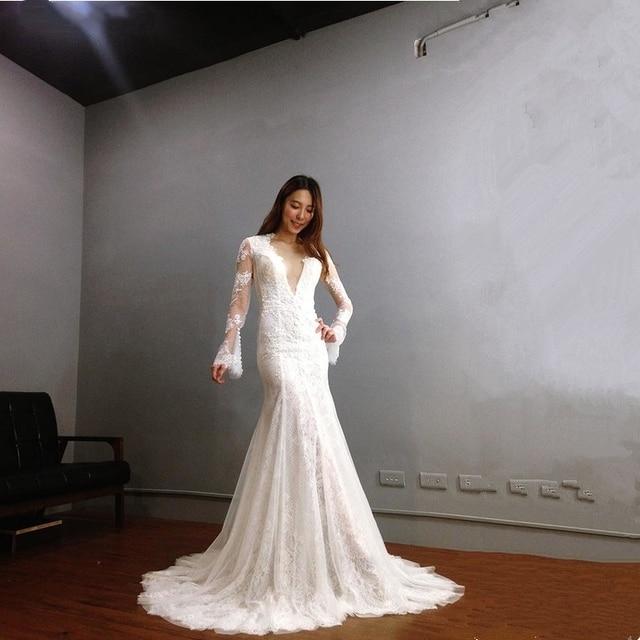 Robe De Mariage lace Long Mermaid Wedding Dress Cap Sleeve Scoop Lace  Bridal Dresses detachable train vestido de noiva Bride 95f33531f812