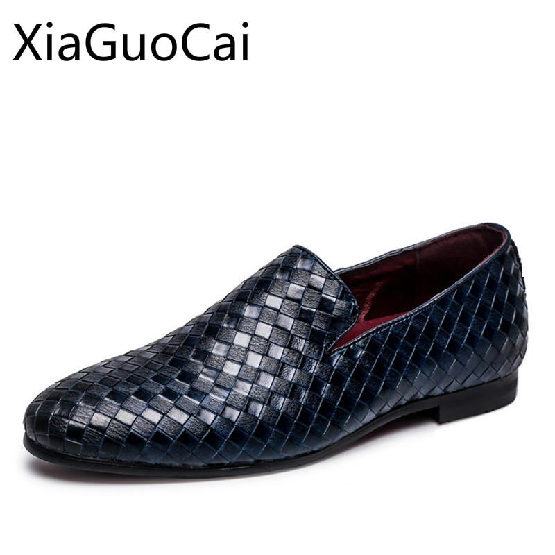 England Style Men Casual Shoes Genuine Leather Loafers For Men Breathable Round Toe Knitted Design Dress Shoes Big Size