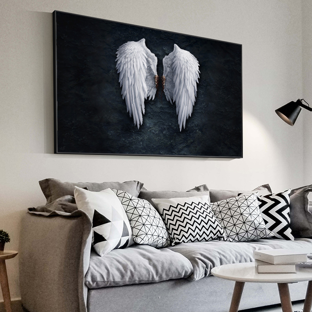 Anime Angel Wings Wall Art Canvas Prints Angel Feather Ground Wings Creative Paintings On The Wall Picture For Living Room Decor 1