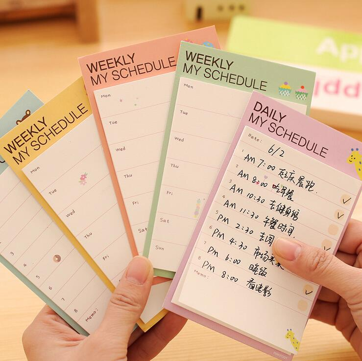 Message Daily Planner Memo Pad Sticky Notes Self Adhesive To Do Schedule AL