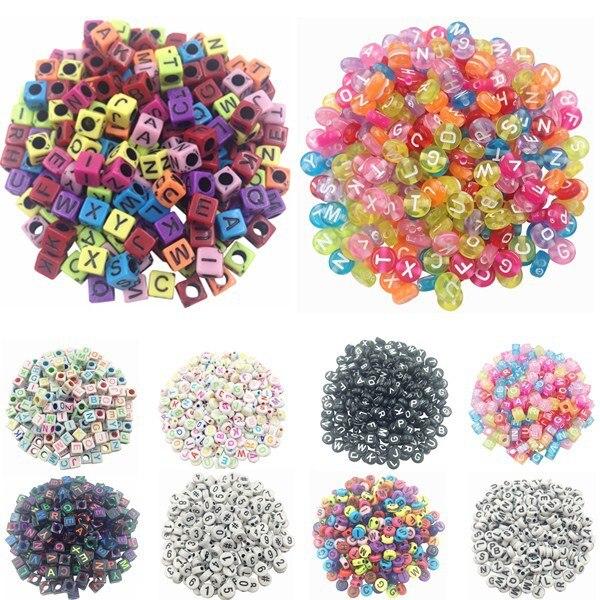New LNRRABC 100 piece/Lot Handmade/DIY Square/Round Alphabet Digital/Letter Acrylic Cube for Jewelry Making Loom Band Bracelets