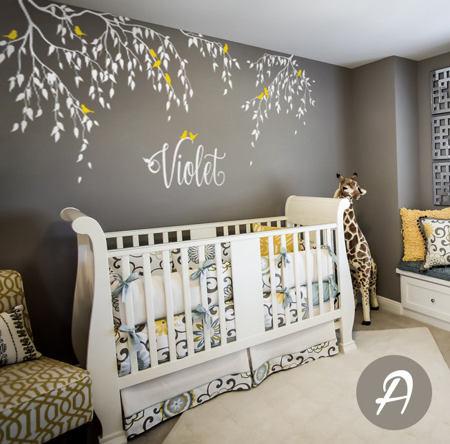 Branches Wall Decals Birds With Custom Name Tree Vinyl