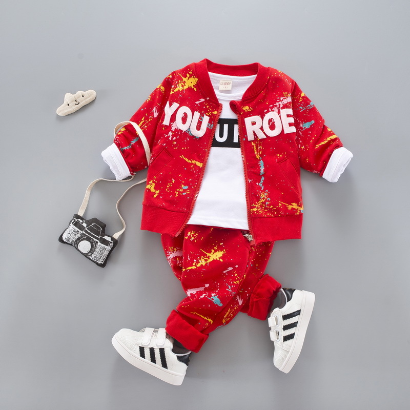 Autumn Children Clothing Sets Baby Boys Cotton letter zipper coat+T shirt+pants Fashion baby Boys girls Clothes Infant 3Pcs Suit