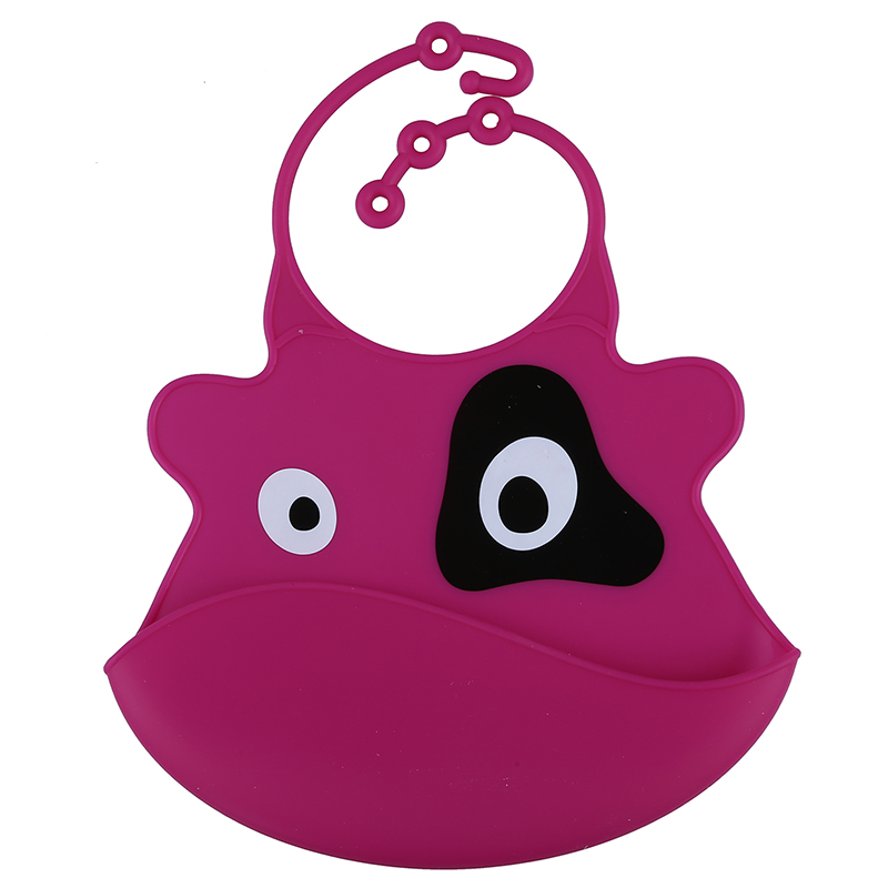 SANQ- Waterproof bib Easy Cleaning Silicone for Baby - Cow fuchsia ...