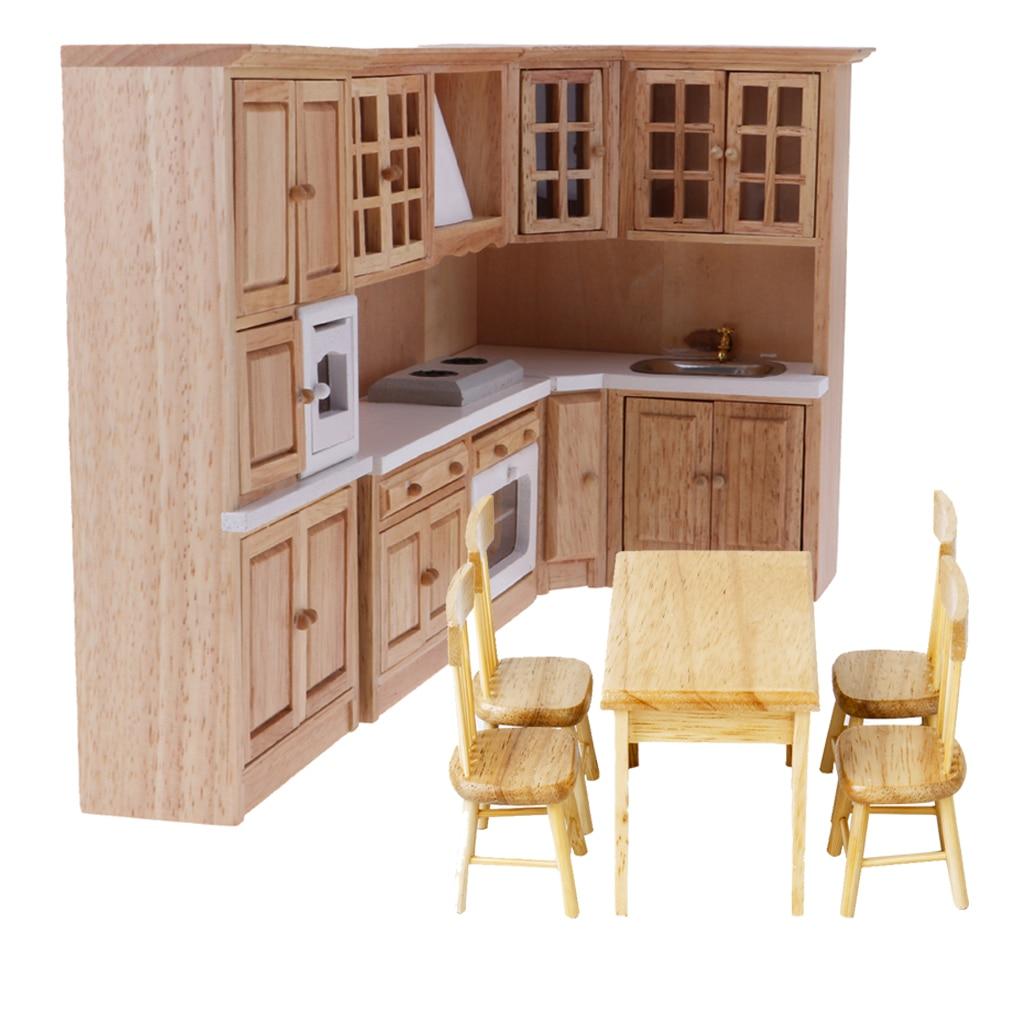 Oyuncaklar ve Hobi Ürünleri'ten Mobilya Oyuncakları'de Boyasız 1/12 Dollhouse minyatür mobilya Ahşap Mutfak Dolabı Masa Sandalye Model Yemek Odası Dekor Aksesuarları'da  Grup 3