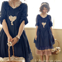 Spring Autumn Cute Solid Draped String Dresses Women Knitted Cotton Button Decorated Lace Sweet Lolita Dress