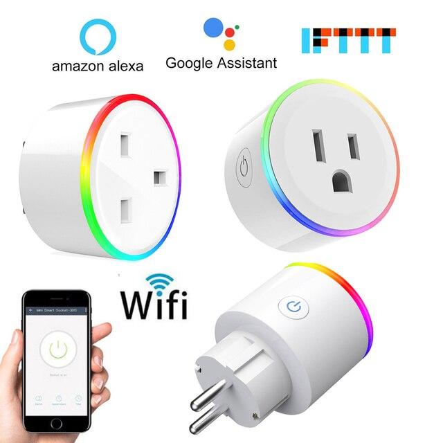 Inteligentna wtyczka inteligentne gniazdo WiFi zasilania monitora ue usa wielka brytania Korea wtyczka współpracuje z Google domu Mini Alexa IFTTT