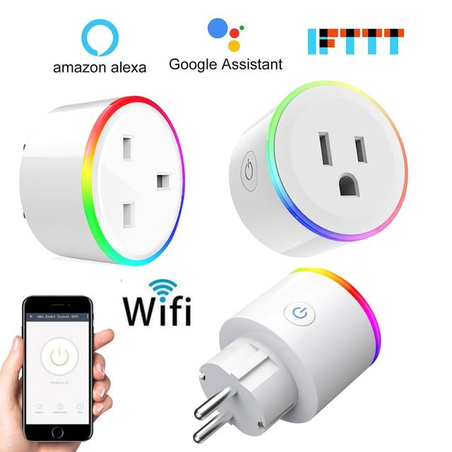 Smart Plug Wifi Smart Socket Monitor de alimentación UE EE. UU. Reino Unido Corea enchufe toma de corriente funciona con Google Home Mini Alexa IFTTT