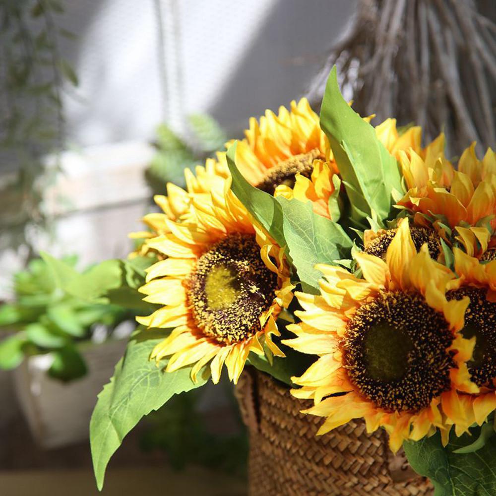 7 Heads Sunflower Flower Artificial Flowers Cheap Fake Silk